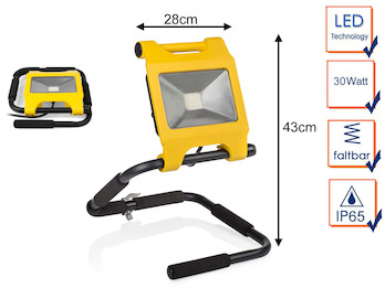 Tragbarer Baustrahler LED Fluter Arbeitsscheinwerfer 30W, faltbar