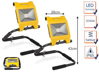 2er Set klappbare 30 Watt LED Baustrahler schwarz / gelb, IP65 Arbeitsleuchten