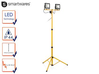 LED Baustrahler auf Stativ, Fluter Arbeitsscheinwerfer 2x 20W, Kaltweißes Licht