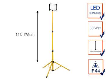 30 Watt LED Baustrahler mit Stativ, höhenverstellbarer Arbeitscheinwerfer IP44
