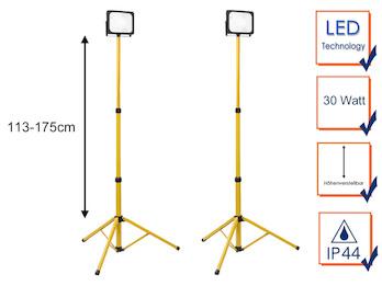 2er Set 30 Watt LED Baustrahler mit Stativ, höhenverstellbare Arbeitscheinwerfer