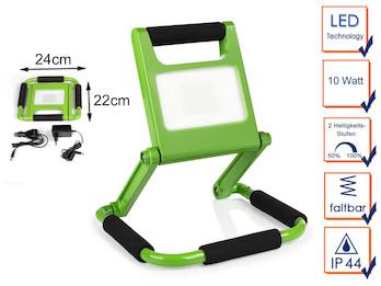 Klappbarer 10 Watt LED Baustrahler grün mit Akku & 2 Helligkeitsstufen