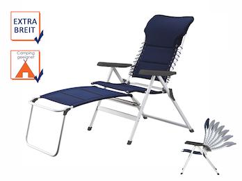 Liegestuhl Campingstuhl Blau mit Beinauflage, Hochlehner verstellbar & klappbar