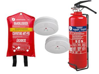Brandschutz-Set2 (2 x Rauchmelder, Feuerlöschdecke, Pulverlöscher), Rettungsset