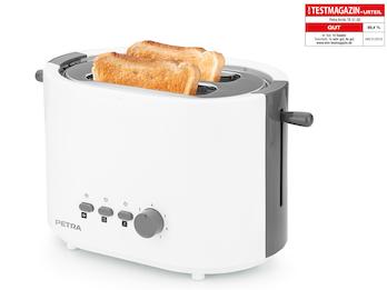 """Moderner Toaster """"Arktisch Weiß"""" von PETRA inklusive Brötchenaufsatz"""