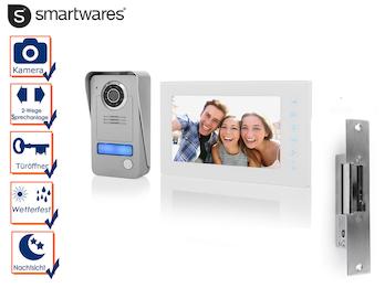 Set: 2 Draht Video Gegensprechanlage Einfamilienhaus + Türöffner, 7 Zoll Display