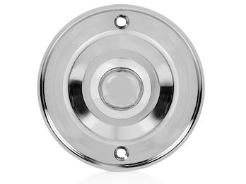 Einfacher Klingelknopf Chrom klassisches Design, Klingeltaster rund  Ø 6,3cm