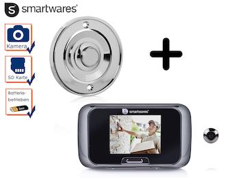 Set: Klingelknopf Chrom + Türspion mit Kamera, Klingel 1 Familienhaus