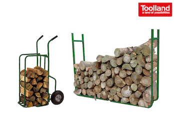 Holzablage, Holzstapel Regal, Breite variabel mit Sackkarre bis max. 250 kg