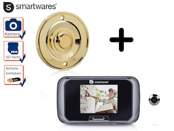 Set: Klingelknopf Messing + Türspion mit Kamera, Klingel 1 Familienhaus