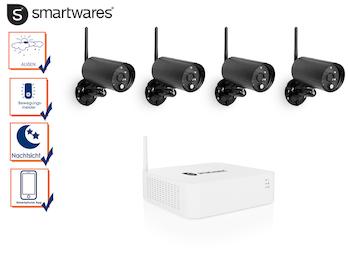 Full HD Kamera Sicherheitssystem mit 4 Funk-Außenkameras & Aufzeichnungsrekorder