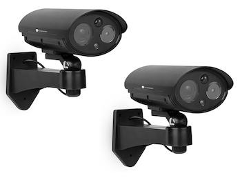 Kamera Attrappen Set mit Bewegungserkennung und Schwenkbewegung, Batteriebetrieb