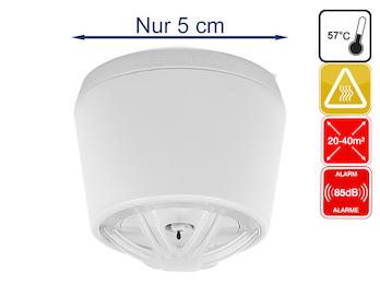 Mini Hitzemelder mit 10 Jahres-Batterie, 85dB, optimal für Küche oder Badezimmer