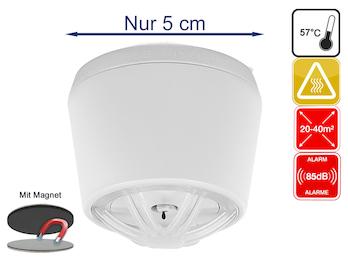 10 Jahres Mini Hitzemelder mit Magnethalter, optimal für Küche oder Badezimmer