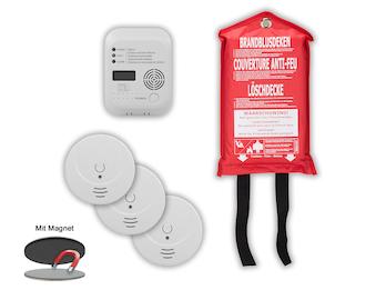 Brandschutz-Set9 (3x Rauchmelder, Magnethalter, CO-Melder, Löschdecke)
