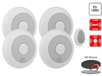 4er-Set vernetzbare Rauchmelder + Fernbedienung + Magnethalter, verlinkbar
