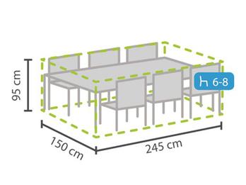 Schutzhülle Abdeckung rechteckig für Gartenmöbel, 245x150cm, witterungsbeständig