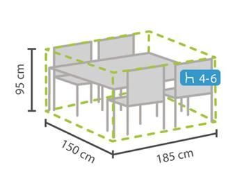 Schutzhülle Abdeckung rechteckig für Gartenmöbel, 185x150cm, witterungsbeständig