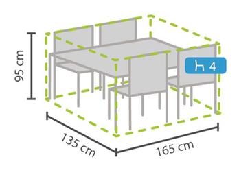 Schutzhülle Abdeckung rechteckig für Gartenmöbel, 165x135cm, witterungsbeständig