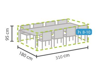 Schutzhülle Abdeckung rechteckig für Gartenmöbel, 310x180cm, witterungsbeständig
