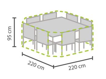 Schutzhülle Abdeckung achteckig für Gartenmöbel, 220x220cm, witterungsbeständig