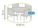 Wetterfeste Schutzhülle Abdeckung rund für Lounge Gartenmöbel, Ø200cm Höhe 85cm