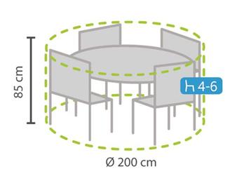 Schutzhülle Abdeckung rund für Gartenmöbel, Ø 200cm, witterungsbeständig