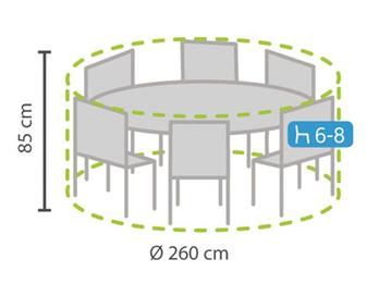 Wetterfeste Schutzhülle Abdeckung rund für Lounge Gartenmöbel, Ø260cm Höhe 85cm