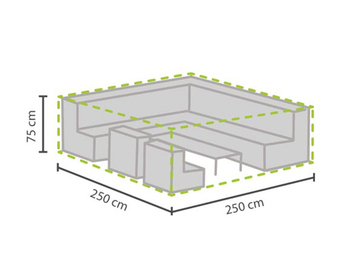 Wetterfeste Schutzhülle Abdeckung für eckiges Garten Lounge Set, 250x250x75cm