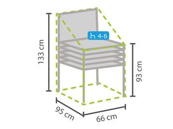 Gartenmöbel Schutzhülle Abdeckhaube für 4-6 Stapelsessel, 66x95x133cm