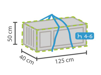 Wetterfeste Schutzhülle für Gartenpolster passend für 4-6 Kissen, 125x40x50cm