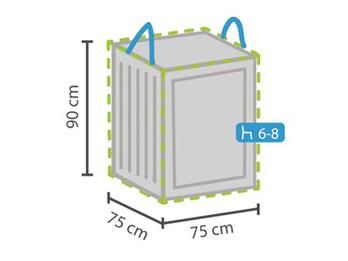 Schutzhülle für Lounge Kissen, 75x75x90cm, passend für 6-8 Auflagen