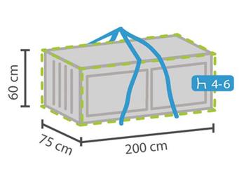 Wetterfeste Schutzhülle für Lounge Kissen passend für 4- 6 Auflagen, 200x75x60cm
