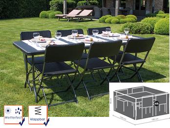 Gartengarnitur schwarz in Rattan Optik, Tisch mit 6 Stühlen und Schutzhülle