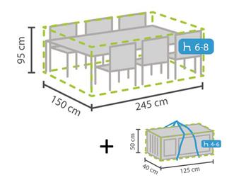 Schutzhüllen Set: Abdeckung für Gartenmöbel 245x150cm + Hülle für 4-6 Kissen