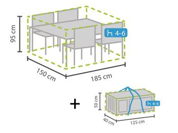 Schutzhüllen Set: Abdeckung für Gartenmöbel 185x150cm + Hülle für 4-6 Kissen