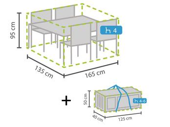 Schutzhüllen Set: Abdeckung für Gartenmöbel 165x135cm + Hülle für 4-6 Kissen