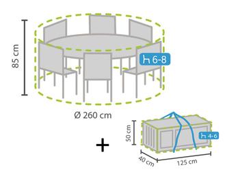Schutzhüllen Set: Abdeckung rund für Gartenmöbel Ø260 cm + Hülle für 4-6 Kissen