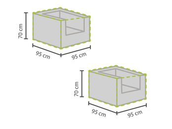 2er Set Gartenmöbel Schutzhüllen / Abdeckungen für Hocker, 95x95cm, wetterfest