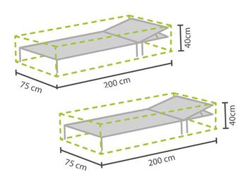 Schutzhüllen 2er Set für Sonnenliegen 200x75cm, Abdeckhauben Gartenliege