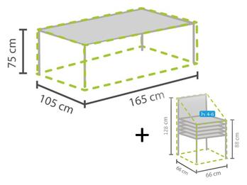 Schutzhüllen Set: 1x Hülle für Tisch max. 160cm + 1x Hülle für 4-6 Stapelstühle