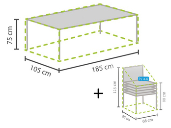 Schutzhüllen Set: 1x Hülle für Tisch max. 180cm + 1x Hülle für 4-6 Stapelstühle