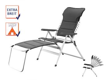 Liegestuhl Campingstuhl Grau mit Beinauflage, Hochlehner verstellbar & klappbar