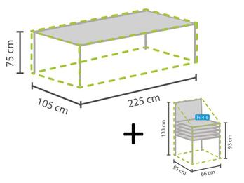 Schutzhüllen Set: 1x Hülle für Tisch max. 220cm + 1x Hülle für 4-6 Stapelsessel