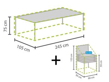 Schutzhüllen Set: 1x Hülle für Tisch max. 240cm + 1x Hülle für 4-6 Stapelsessel