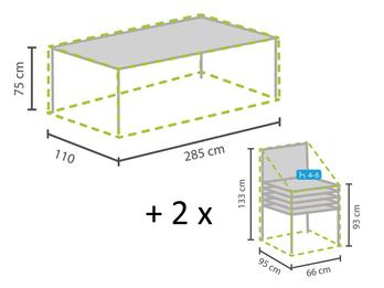Gartenmöbel Set: 1x Hülle für Tisch max. 280cm + 2x Hülle für 4-6 Stapelsessel