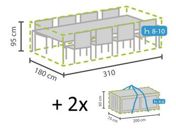 Schutzhüllen Set XXL: Abdeckung Sitzgruppe 310x180cm + Hüllen für 8-12 Kissen