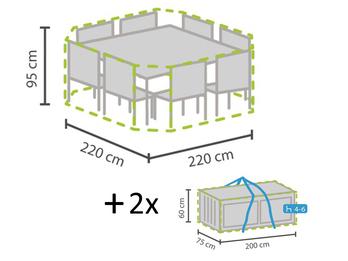 Schutzhüllen Set: Abdeckung für achteckige Sitzgruppe + Hüllen für 8-12 Kissen