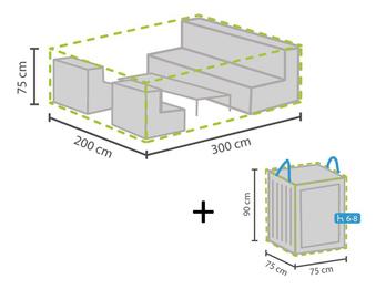 Schutzhülle Abdeckung L 300x200cm für Garten Lounge Set + Hülle für 6-8 Kissen