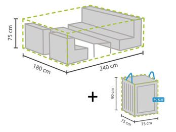 Schutzhülle Abdeckung M 240x180cm für Garten Lounge Set + Hülle für 6-8 Kissen